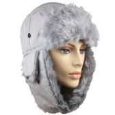 GREY WINTER PILOT HAT WITH FAUX FUR LINING AND STRAP
