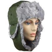 GREEN WINTER PILOT HAT WITH FAUX FUR LINING AND STRAP