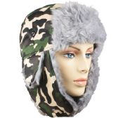 WINTER ARMY PILOT HAT WITH FAUX FUR LINING AND STRAP