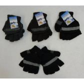 Fingerless Gloves with Mitten Flap [Solid Color with Stripe]