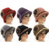 Wholesale Knitted Lady Winter Hats with Rhinestone Flower Petal