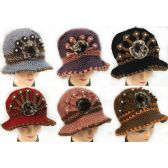 Wholesale Knitted Winter Lady Hats with Fur Ball Design