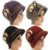 Wholesale Knitted Lady's Winter Hats with layered flower design