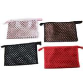 Assorted color dotted cosmetic bag