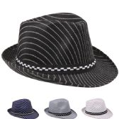 Kids Pinstripe Fedora Hat Assorted Color With Checkered Band