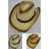 Paper Straw Cowboy Hat [turquoise Stone]