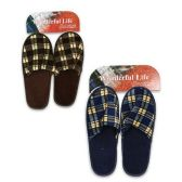 MENS CHECKERED SLIPPERS ASSORTED COLORS SIZE S-L