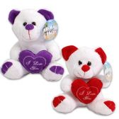 SMALL PLUSH BEAR WITH HEART TEXT FEATURES I LOVE YOU ASST COLORS