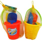 "4.5"" Beach Toy Bucket W/accss In Net Bag"