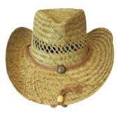 Wholesale WHEAT STRAW BEACH HAT WITH TIE BLACK HEAD BAND SUMMER COVER