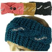 KNIT SKIBANDS w/BUTTON CLOSURES