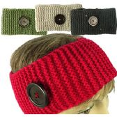 KNIT SKIBANDS w/BUTTON ACCENT.