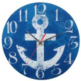 Blue Wall Clock With Anchor
