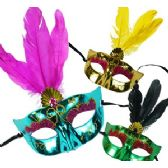 METALLIC FAUX GEM AND FEATHER MASKS.