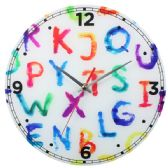 Glass Wall Clock Colorful ABC Design