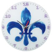 Glass Wall Clock White And Blue