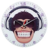 Glass Wall Clock With Monkey