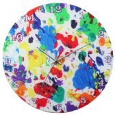 Glass Wall Clock White With Paint Splatter