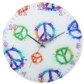 Glass Wall Clock White With Colorful Peace Signs
