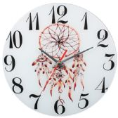 Glass Wall Clock White With Flower