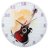 Glass Wall Clock With Guitar