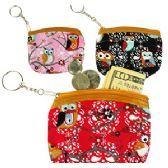 OWL BRANCH COIN PURSE KEYCHAINS.