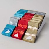 Gift Card Holder Glitter 4ast Colors W/satin Ribbon/24pc Pdq Party Easy Peel Label/bellyband
