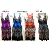 Wholesale Short Lace Back Peacock Printed Summer Dresses