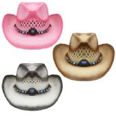 KIDS ASSORTED STRAW COWBOY HAT WITH BEADED BAND