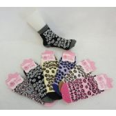 Womens Leopard Print Warm Fuzzy Socks