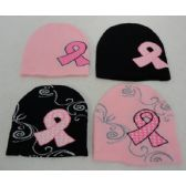 Womens Breast Cancer Ribbon Winter Hat