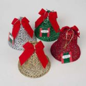 Bell Glittered W/bow 6in 4asst Colors Ornament/table Decor Christmas Hangtag