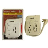 3 Outlet Adapter with 2 USB Port