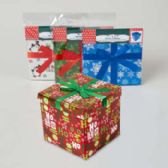 Gift Box 7inch Cube With ribbon 4 assorted Xmas