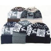 Snowflake and Reindeer Design Ski Cap