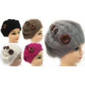 Wholesale Knitted Lady's Winter Hats with Buttons Assorted