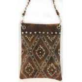 Wholesale Studded Phone Pocket Sling Purse with Chain Strap Brown
