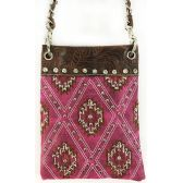 Wholesale Studded Phone Pocket Sling Purse with Chain Strap Fuchs