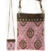 Wholesale Studded Phone Pocket Sling Purse with Chain Strap Pink