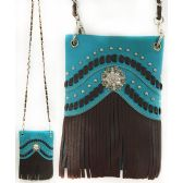 Wholesale Studded Phone Pocket Sling Purse Chain Strap Turquoise
