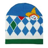 WINTER BEANIE WITH BOY IN BLUE WHITE AND GREEN
