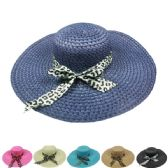 WOMEN'S SOLID COLOR SUMMER HAT WITH ANIMAL PRINTED BOW