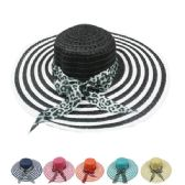 Multicolor Striped Women's Summer Hat With Animal Printed Bow
