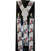 WHITE SUSPENDERS WITH AMERICAN FLAG EAGLE