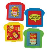 CAMPBELL'S SANDWICH CONTAINER 4.5 X 5 INCH ON CLIP STRIP ASSORTED COLORS & DESIGNS