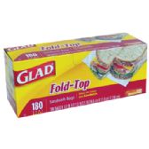 180 COUNT GLAD FOLD TOP SANDWICH BAGS
