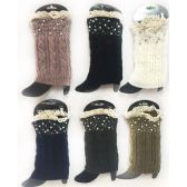 Wholesale Knitted Rhinestone Boot Topper with Crochet Top Assorte