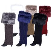 Wholesale Knitted Long Boot Topper Leg Warmer with Faux Fur