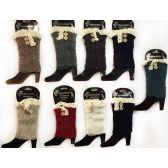 Wholesale Knitted Boot Topper with Buttons Lace Leg Warmer