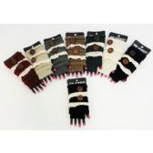 Wholesale Vintage Lace and Buttons Knitted Fingerless Gloves